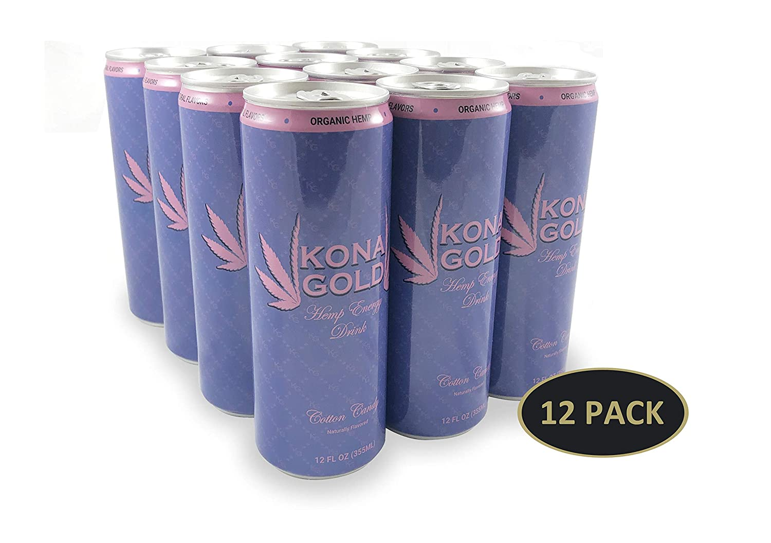 Kona Gold Cotton Candy Hemp Energy Drink 12.0 Fluid Ounces, 12 Pack, Zero Calories, Zero Sugar, Natural Flavors, Organic Hemp