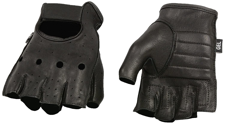 Black, Small Shaf International Deer Skin Fingerless Gloves with Gel Padded Palm