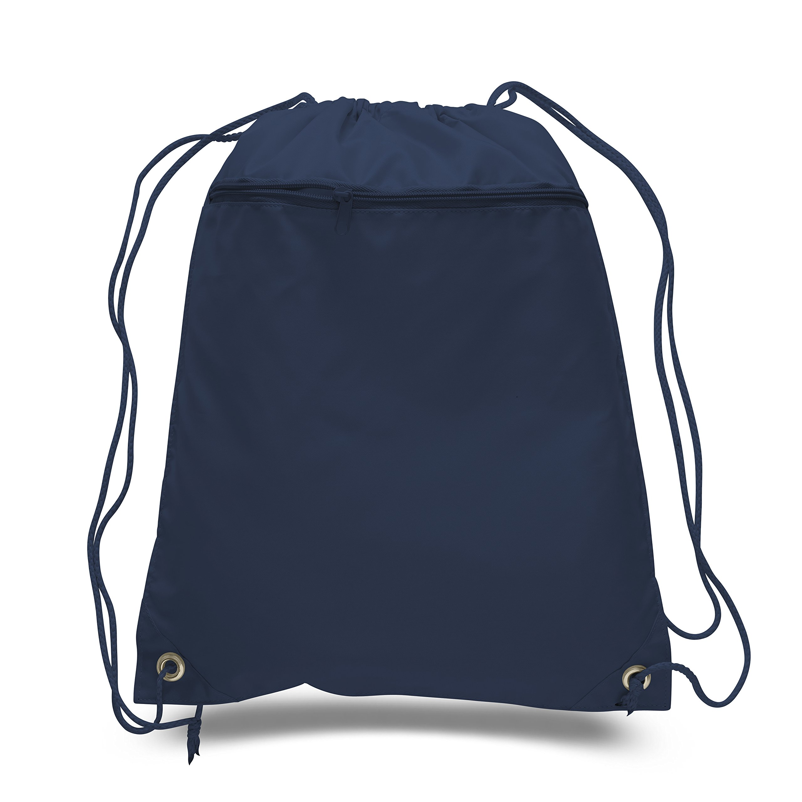 (12 Pack) Set of 12- Economical Drawstring Polyester Backpack with Front Pocket (Navy)
