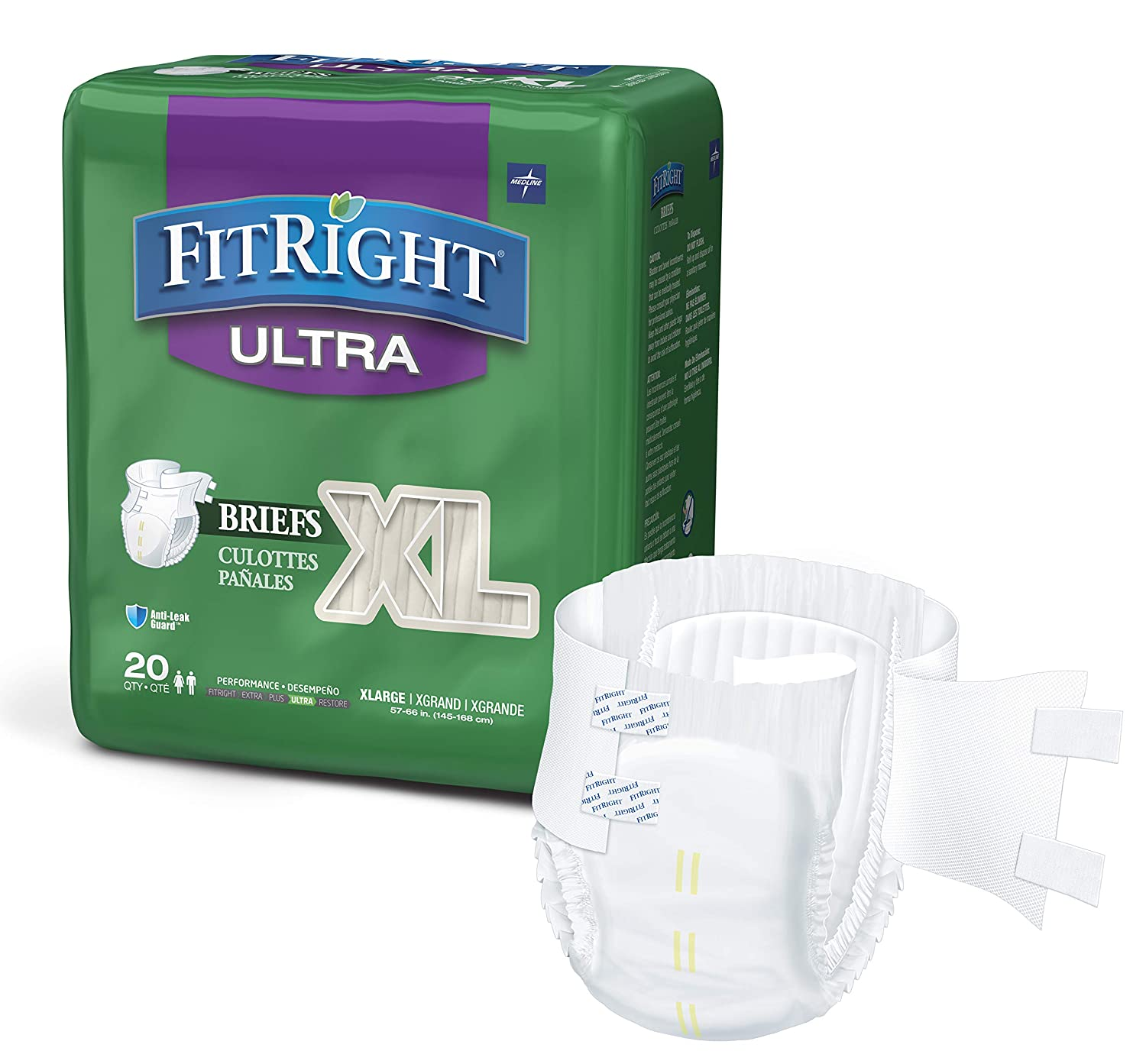 """FitRight Ultra Adult Diapers, Disposable Incontinence Briefs with Tabs, Heavy Absorbency, X-Large, 57""""-66"""", 4 packs of 20 (80 total)"""