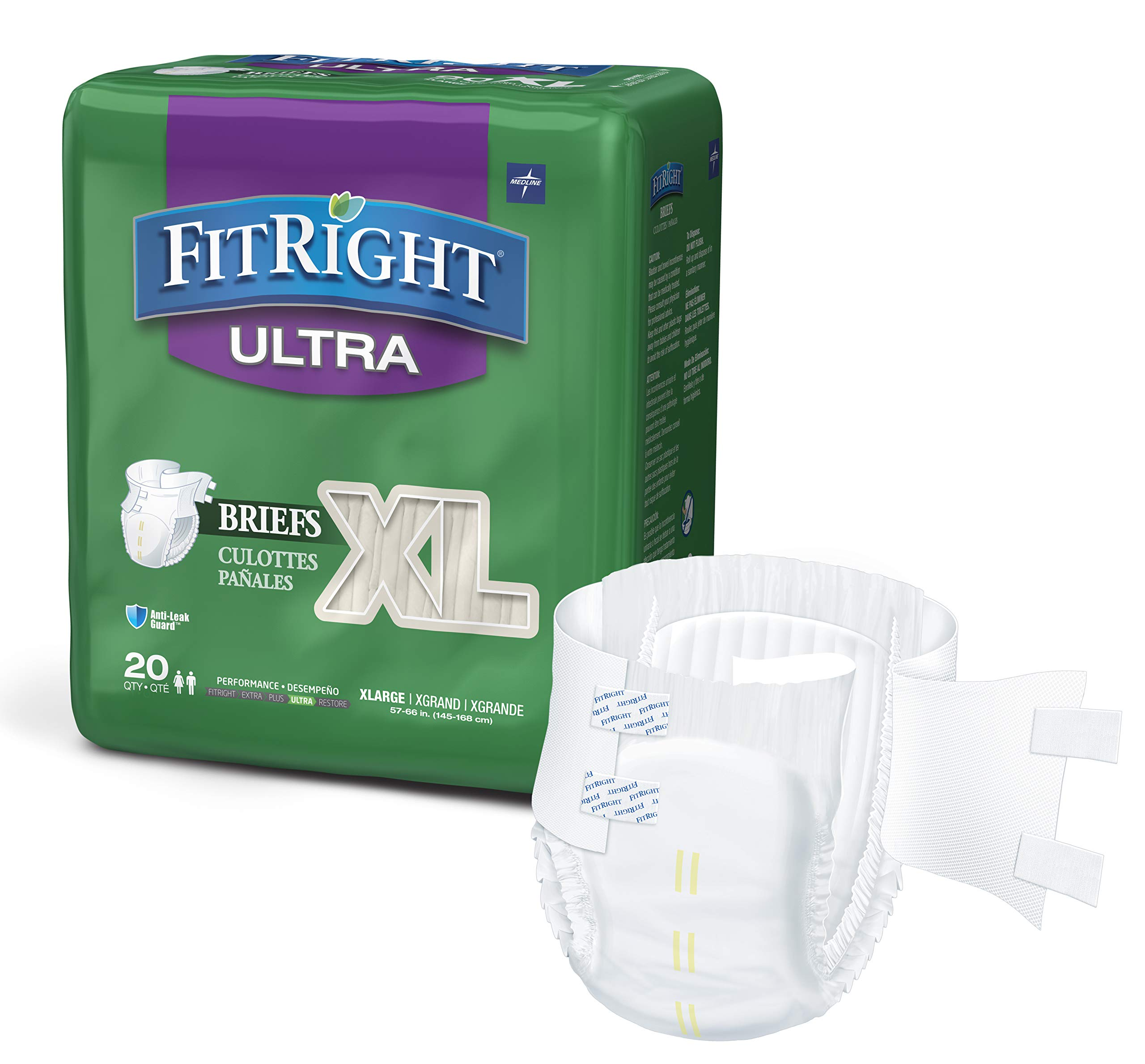 FitRight Ultra Adult Diapers, Disposable Incontinence Briefs with Tabs, Heavy Absorbency, X-Large, 57''-66'', 4 packs of 20 (80 total) by Medline