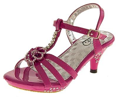 d1069490a07234 New Girls Toddlers Diamante Kitten Heel Wedding Party Heels Size UK 12.5  (31)