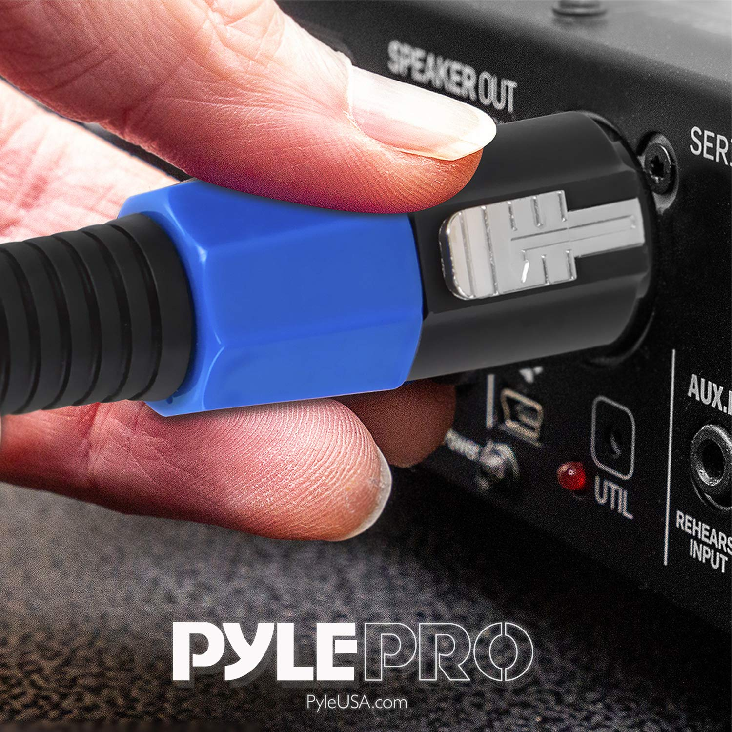 Pyle Pro PPSS50 Speakon to Speakon Audio Cord Delivers Sound 50 ft 12 Gauge Male Speakon Connector to Male Speakon Connection Black Heavy Duty Professional Speaker Cable Wire
