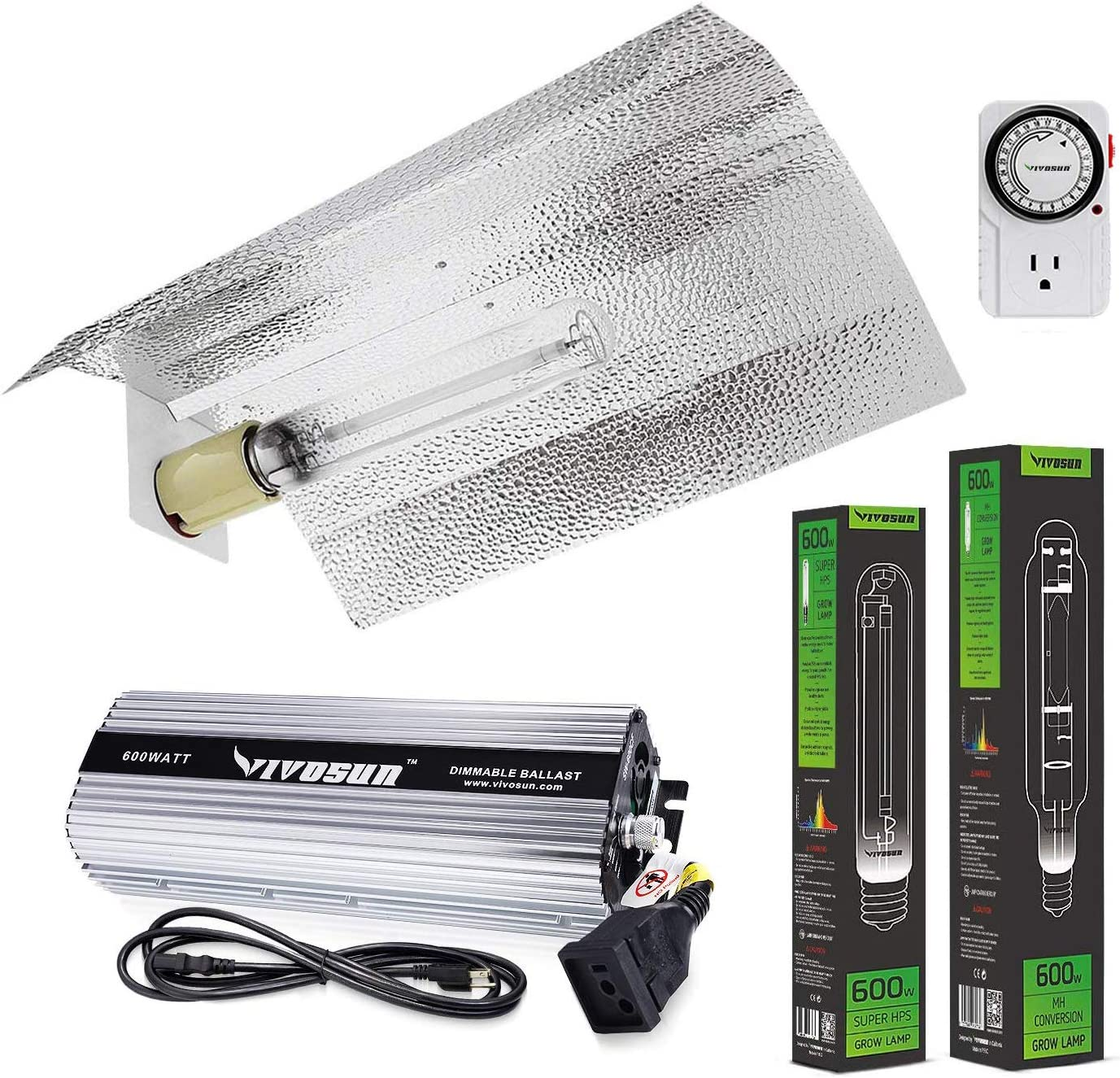 VIVOSUN Hydroponic 600 Watt HPS MH Grow Light