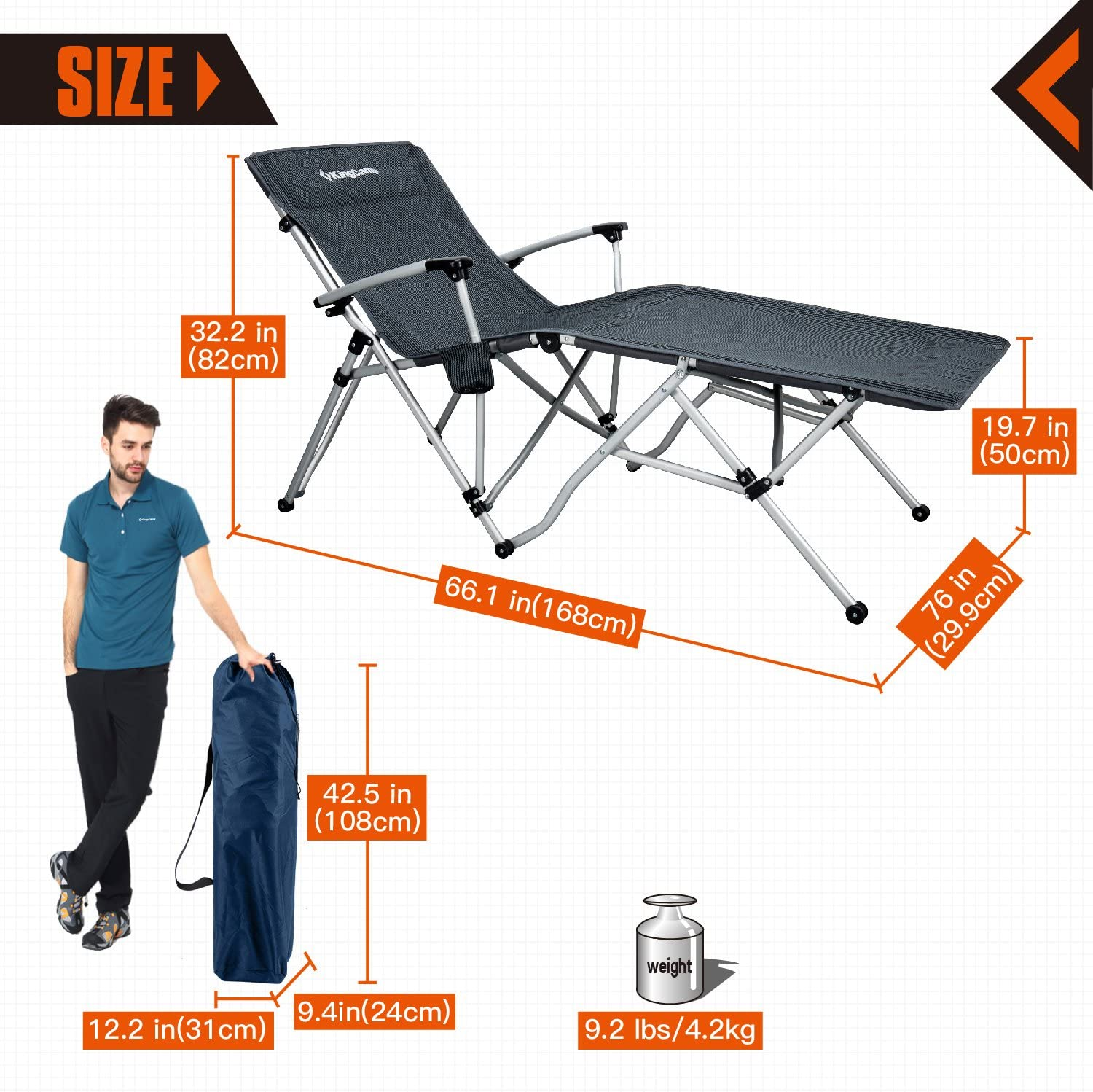 KingCamp Camping Chair Oversized XL Folding Patio Lounge Chaise Bed with Cup Holder Optimal-Angle Armrest Lightweight Portable Supports 300lbs for Camping, Carry Bag Included