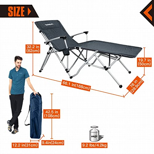 KingCamp Camping Chair Oversized XL Folding Patio Lounge Chaise Bed