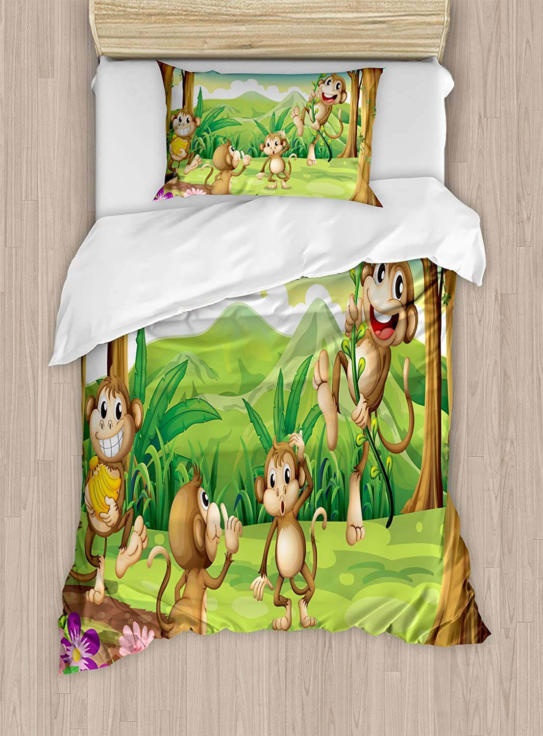 Ambesonne Tropical Duvet Cover Set Twin Size, Digital Dot Featured Fun Monkey Face Portrait Little Geometrical Rounds Print, Decorative 2 Piece Bedding Set with 1 Pillow Sham, Tan and Brown