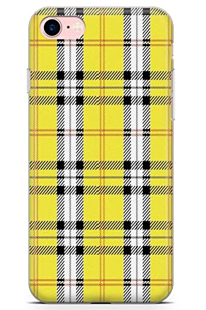 pretty nice f24f9 68d97 iPhone 7 Case, iPhone 8 Case, Designer Yellow Plaid Phone Case by  Casechimp® | Clear Ultra Thin Lightweight Gel Silicon TPU Protective Cover  | ...