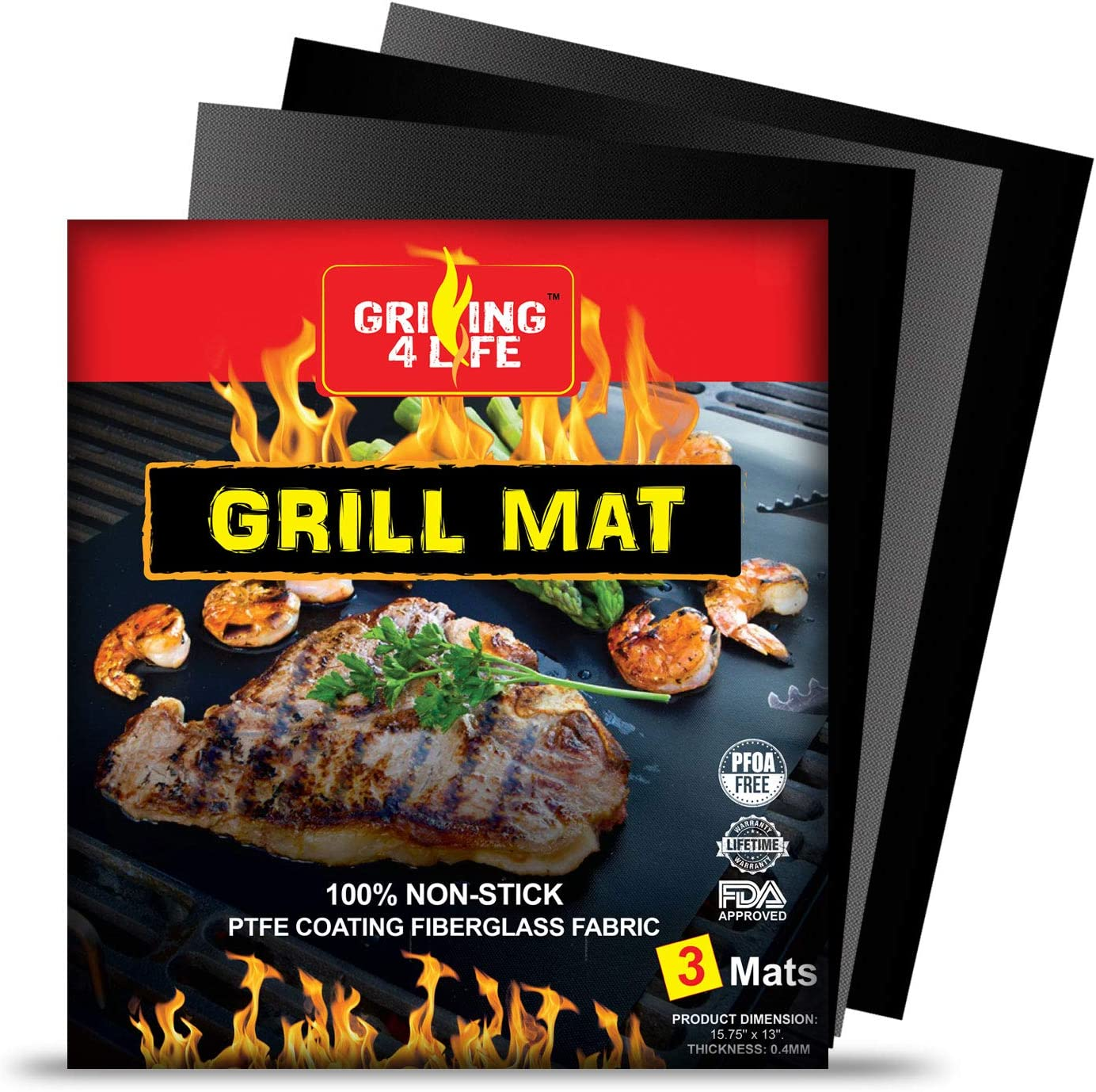 GRILLING 4 LIFE Grill Mat - 2019 Set of 3 Exceptional Premium and Heavy Duty Heat-Resistant Up to 600 Degree BBQ Grill Mats