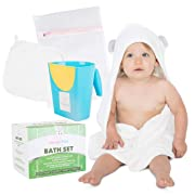 Baby Hooded Towel Set with Washcloth, Baby Rinse Cup, and Mesh Wash Bag for Baby and Toddler - Organic Bamboo, Super Soft and Absorbent - Perfect Baby Shower Gifts for Girls and Boys by Gheegle Baby