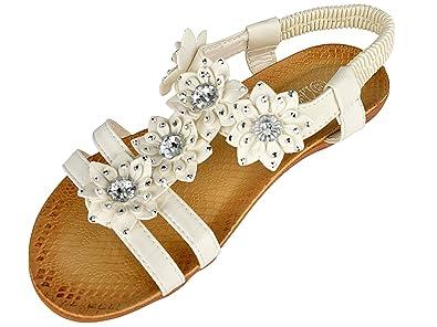 76c79663eb9d Libra Pop Women s Diamante Flower T-Bar Flat Comfort Fit Cushioned Sandals  White 41