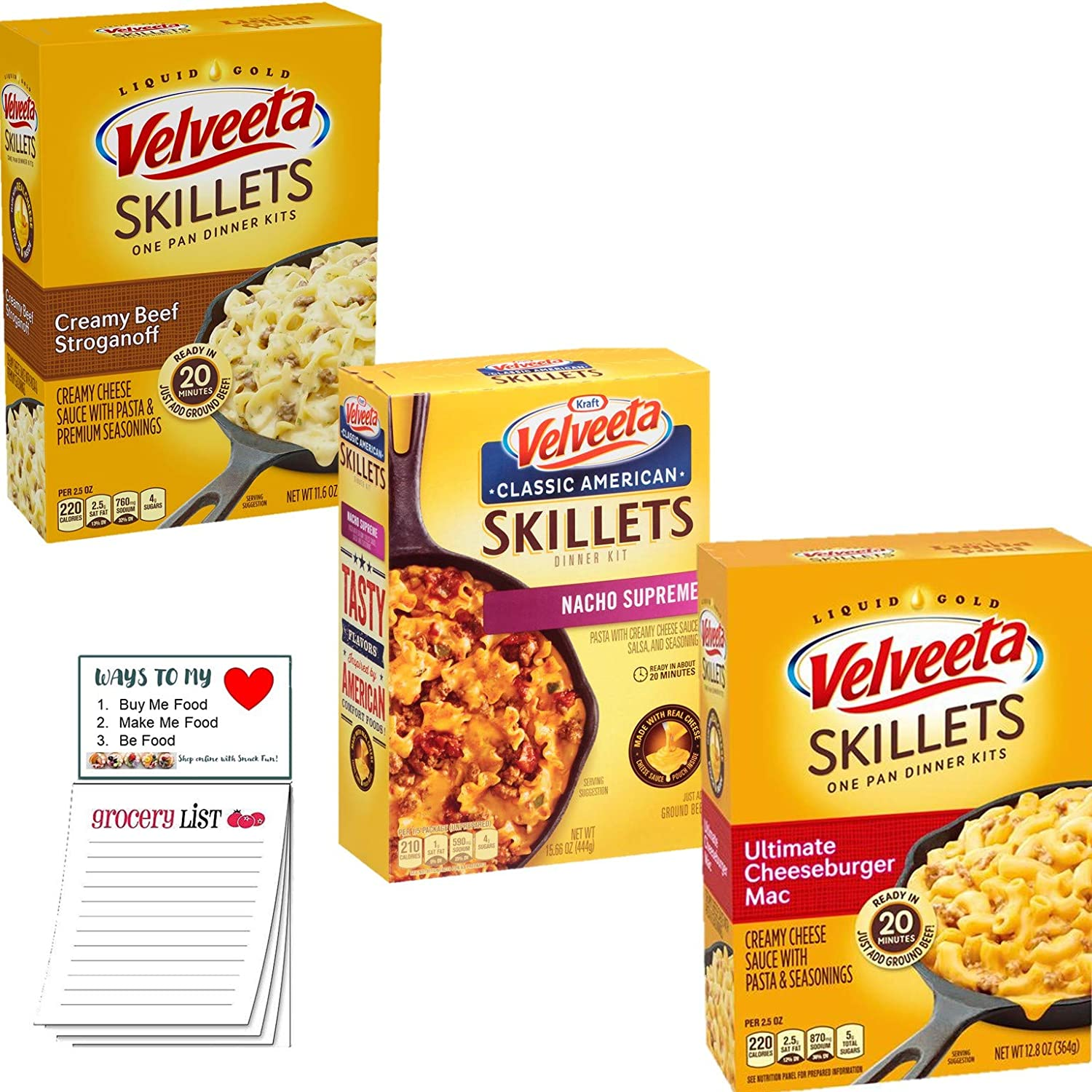Velveta Skillets Variety pack of 3 | Box Dinner Varity Pack | Creamy Beef Stroganoff | Ultimate Cheeseburger Mac | Nacho Supreme |Snack Fun Shopping Pad