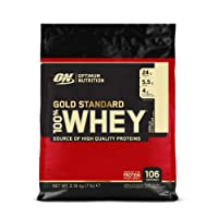 Optimum Nutrition Gold Standard Whey Protein Powder with Glutamine and Amino Acids. Protein Shake by On - Vanilla Ice Cream 3.18kg