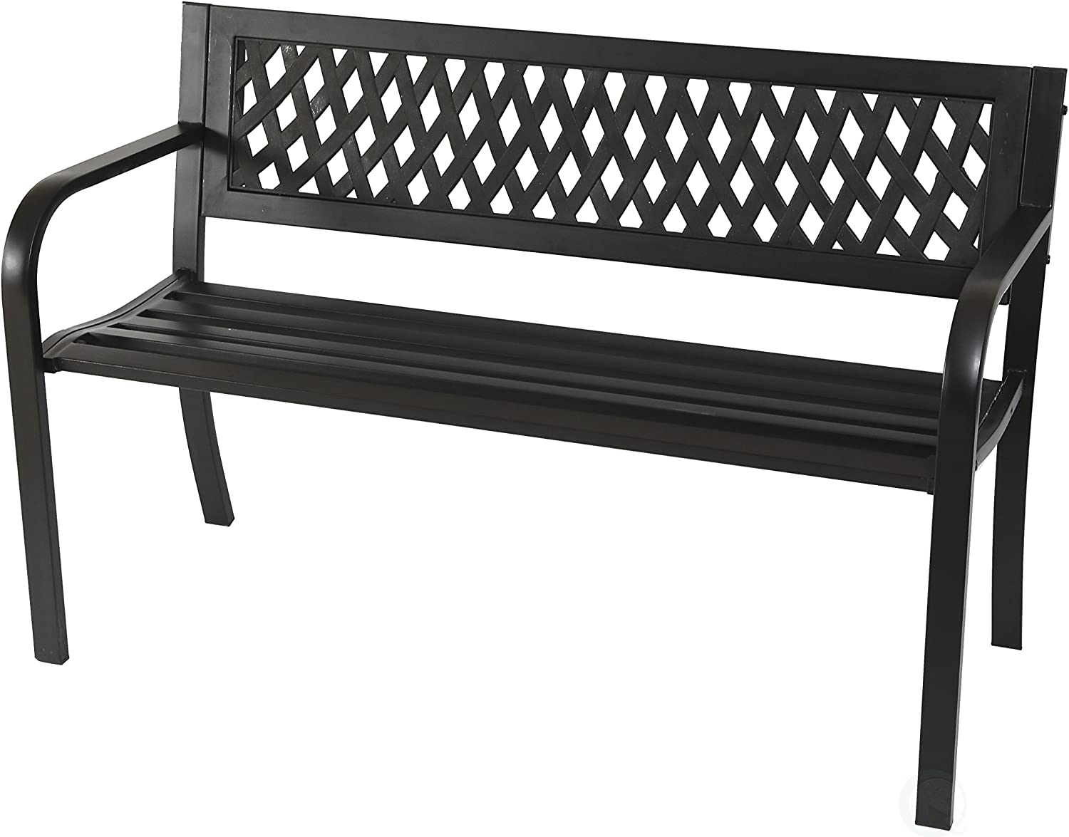 "Gardenised Patio Steel 47"" Park Bench For Garden Weather Resistant"