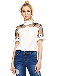 4aed2670e8 Romwe Women's Fashion Contrast Embroidered Floral Mesh Blouse Summer  Elegant Collared Pleated Top White