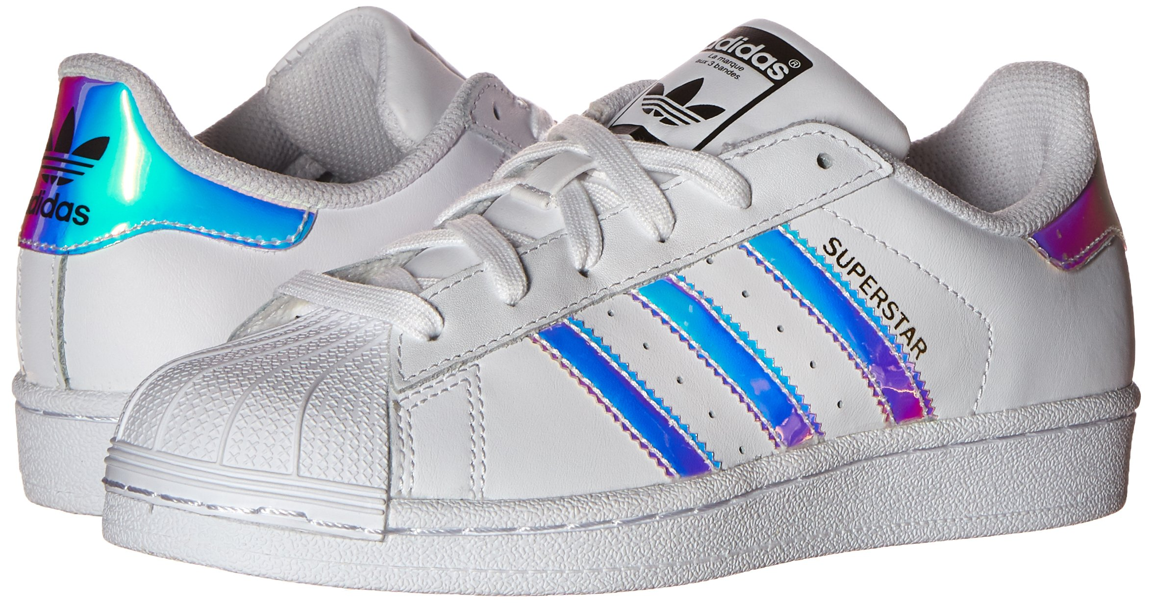 adidas Originals Kid's Superstar J Shoe, White/White/Metallic Silver, 4 M US Big Kid by adidas Originals (Image #6)