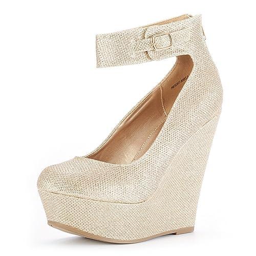 b85823f5a9fac8 DREAM PAIRS Women s Height-Ankle Gold Glitter Elegant Ankle Strap Rear  Zipper Closure Wedge Heel