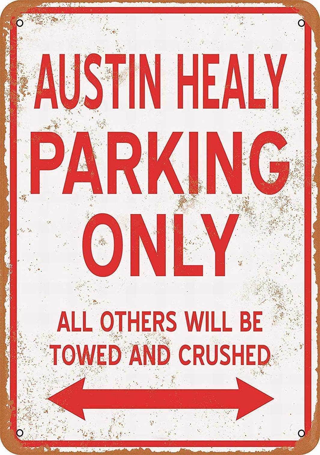 Outdoor Decorative Aluminum Signs 16x12,Austin Healy Parking Only,Vintage Metal Tin Garage Office Club Bar Wall Art Deco Cafe Shop Home Metal Painting Tavern Decoration