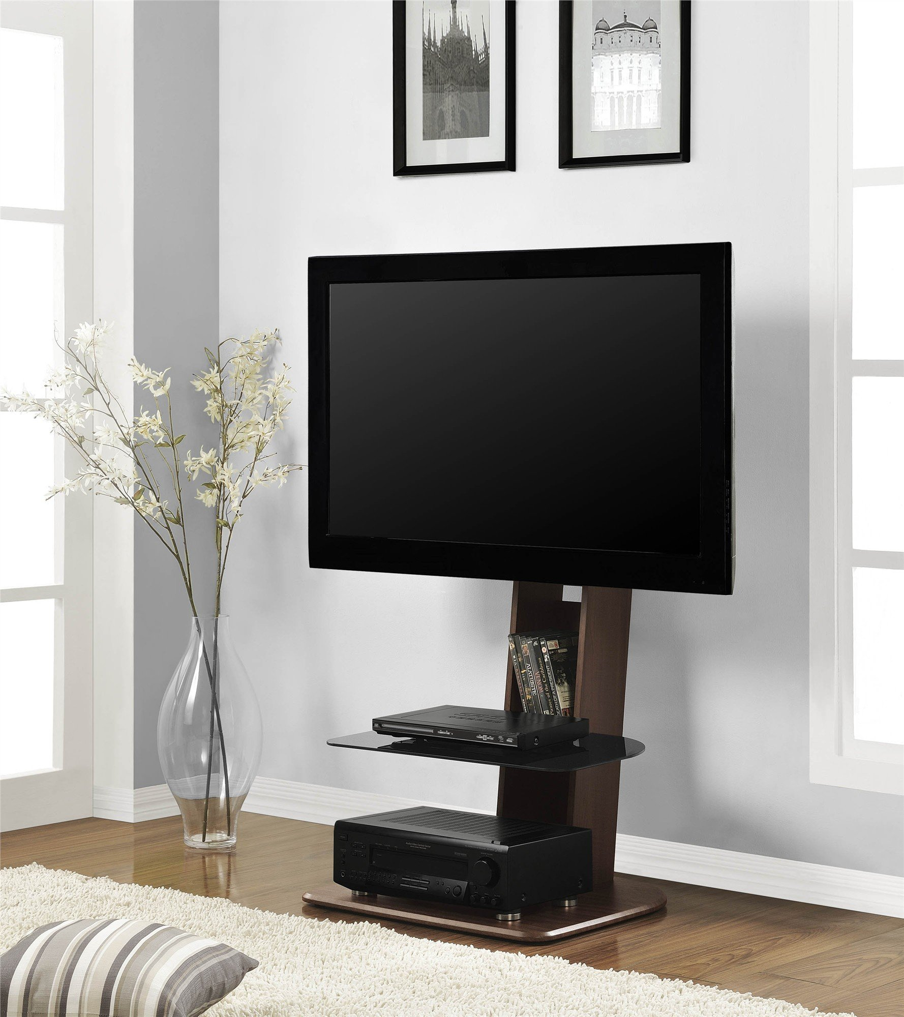 Ameriwood Home Galaxy TV Stand with Mount for TVs up to 50'' Wide, Walnut