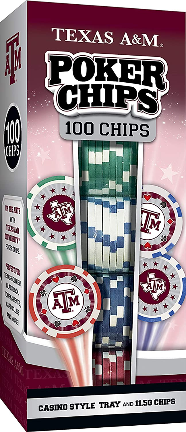 MasterPieces NCAA Unisex-Adult 100-Piece Casino Style Poker Chips
