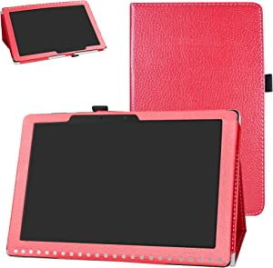Acer Iconia One 10 B3-A50 Case,Bige PU Leather Folio 2-Folding Stand Cover for Acer Iconia One 10 B3-A50 10.1 inch 2018 Tablet (Not fit Acer A3-A50),Red