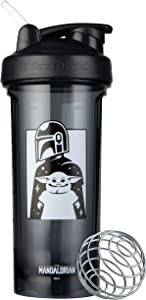 BlenderBottle Star Wars Pro Series Shaker Bottle Stocking Stuffer, 28-Ounce, Mandalorian & Child