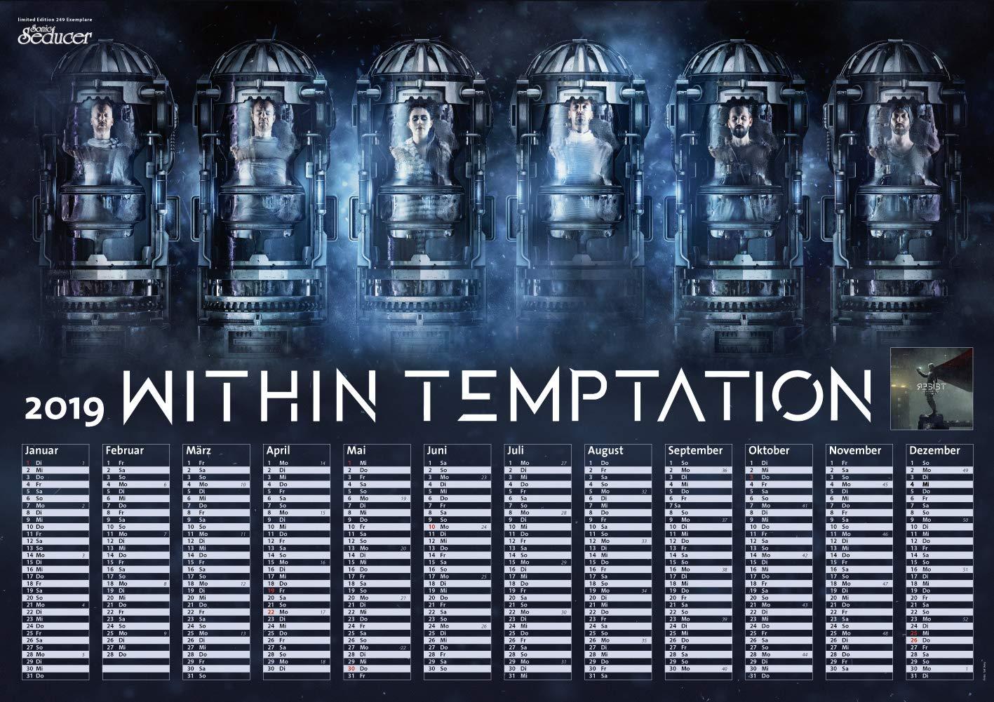 sonic seducer limited edition 12 2018 01 2019 titelstory within temptation gothic fetisch kalender im xxl format cd mit 3 stunden spielzeit