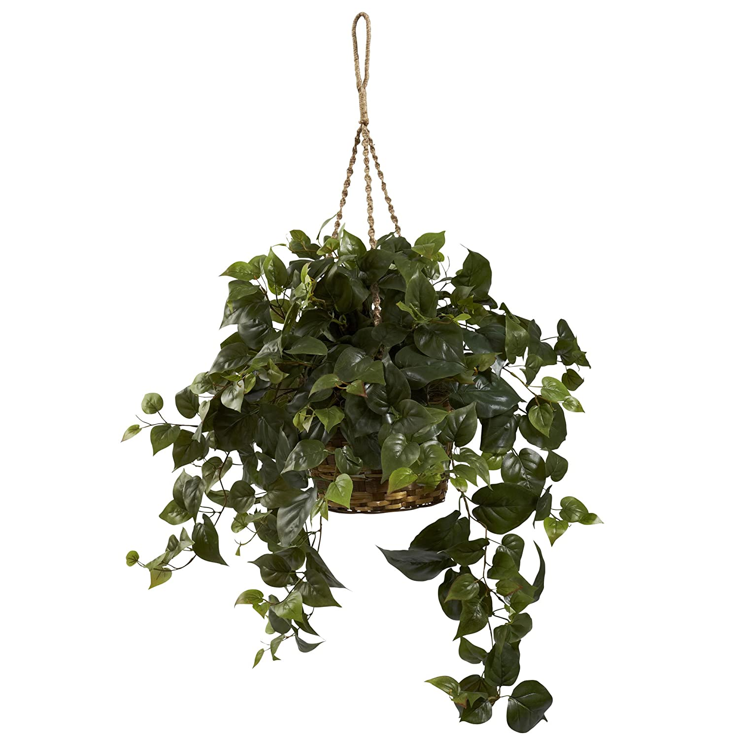 Nearly Natural 6736 Philo Hanging Basket, Green