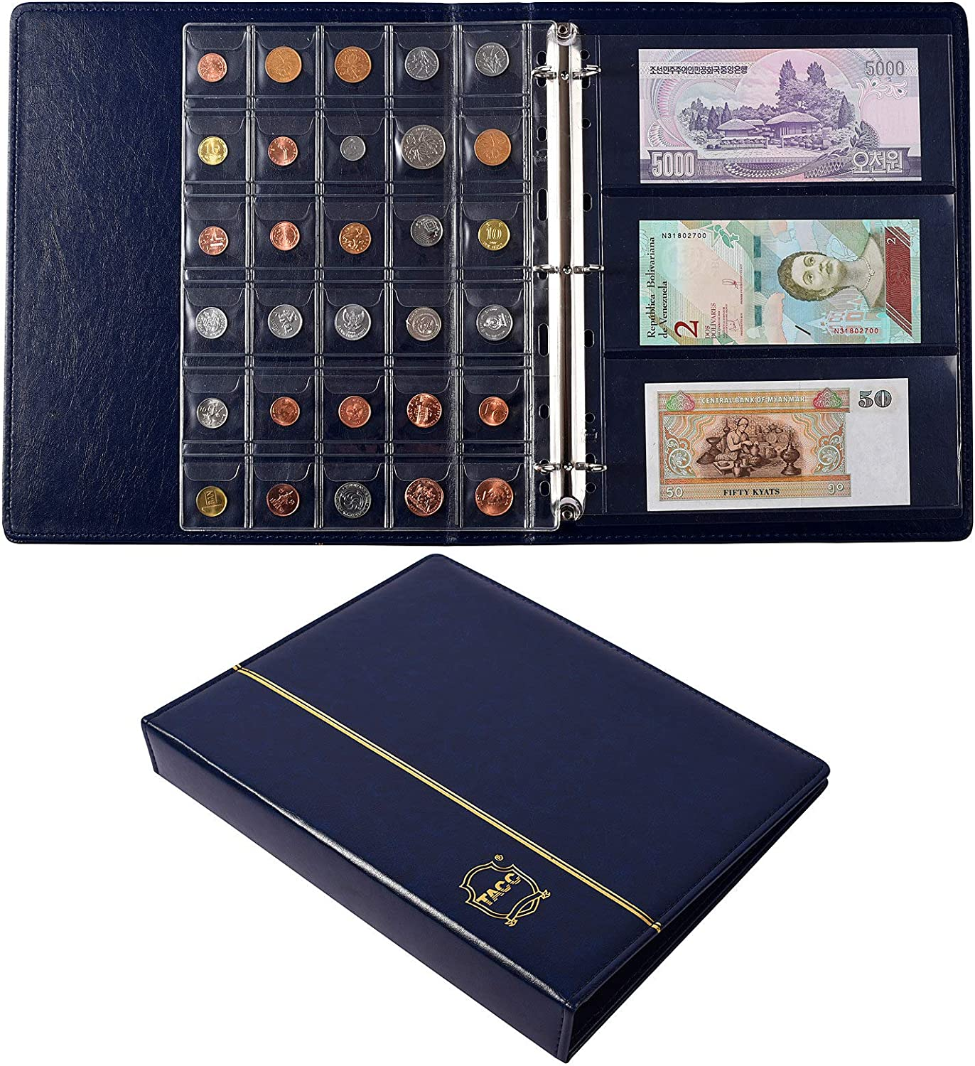 240pockets Banknotes Bills Collections 150pockets Coin Collections Album Book