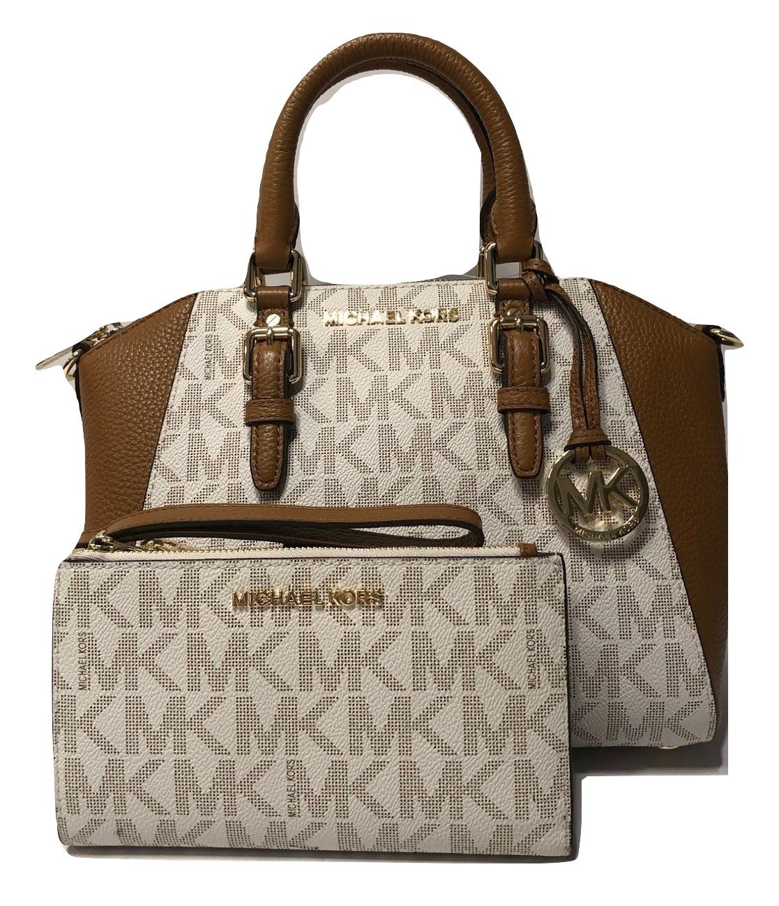 MICHAEL Michael Kors Ciara MD Messenger Handbag bundled with Michael Kors Jet Set Travel Double Zip Wallet Wristlet (Signature Vanilla/Acorn)