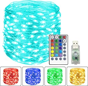 TURNMEON 40 Feet 120 LED USB String Lights Christmas Decorations 16 Colors Changing Fairy Lights with Remote Waterproof for Bedroom Holiday Christmas Decorations Indoor Outdoor Home Xmas Tree Lights