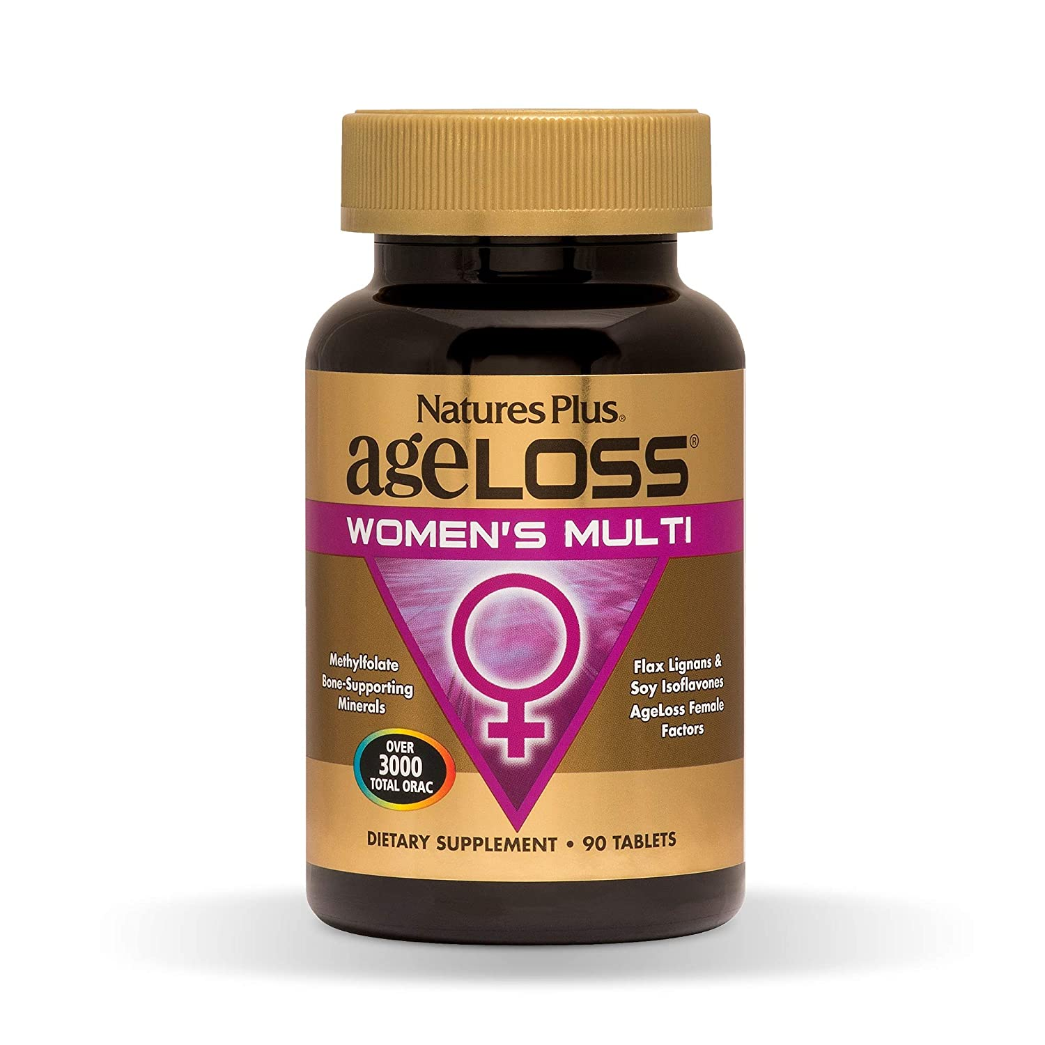 NaturesPlus AgeLoss Womens Multi – 90 Tablets – Anti-Aging Multivitamin Mineral Supplement, Menstrual Menopausal Support, Antioxidant, Anti-Inflammatory – Gluten-Free – 30 Servings