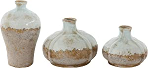 Creative Co-op Round Terracotta Vases with Distressed Finish (Set of 3 Sizes)