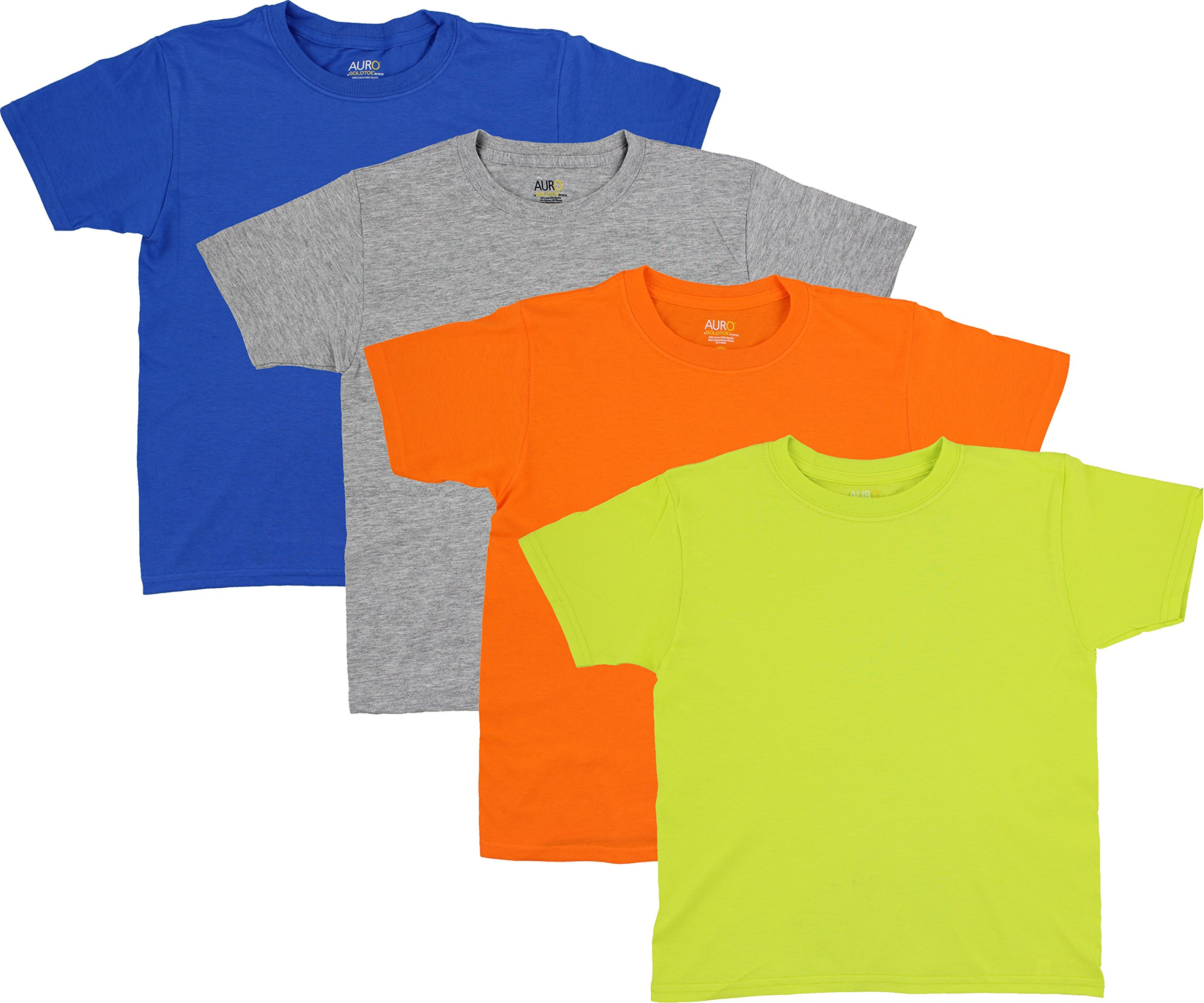 AURO Boys Premium Cotton Comfort Crew Neck Tees - 4 Pack, XS