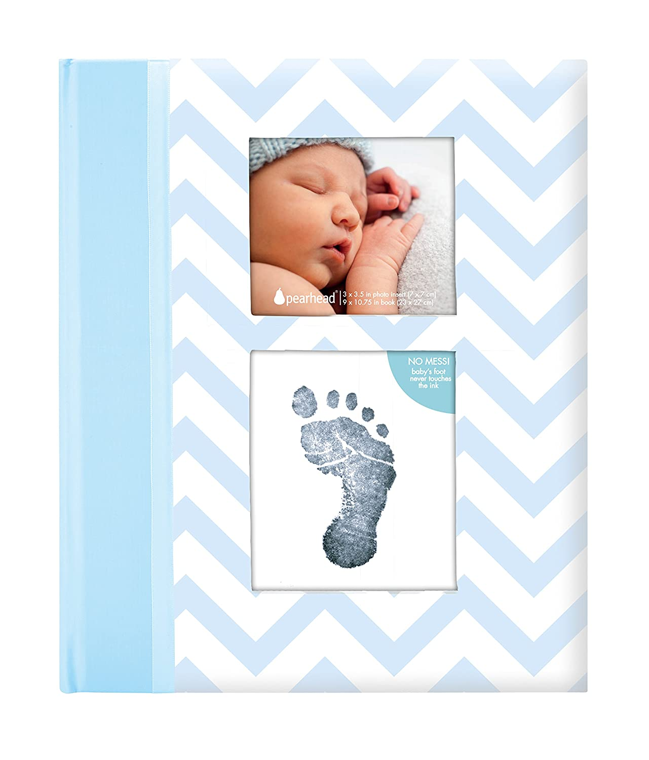 Pearhead First 5 Years Chevron Baby Memory Book with Included Clean-Touch Baby Safe Ink Pad to Create Baby s Handprint or Footprint, Keepsake Milestone Journal, Beautiful Gift for Any New Mum, Blue