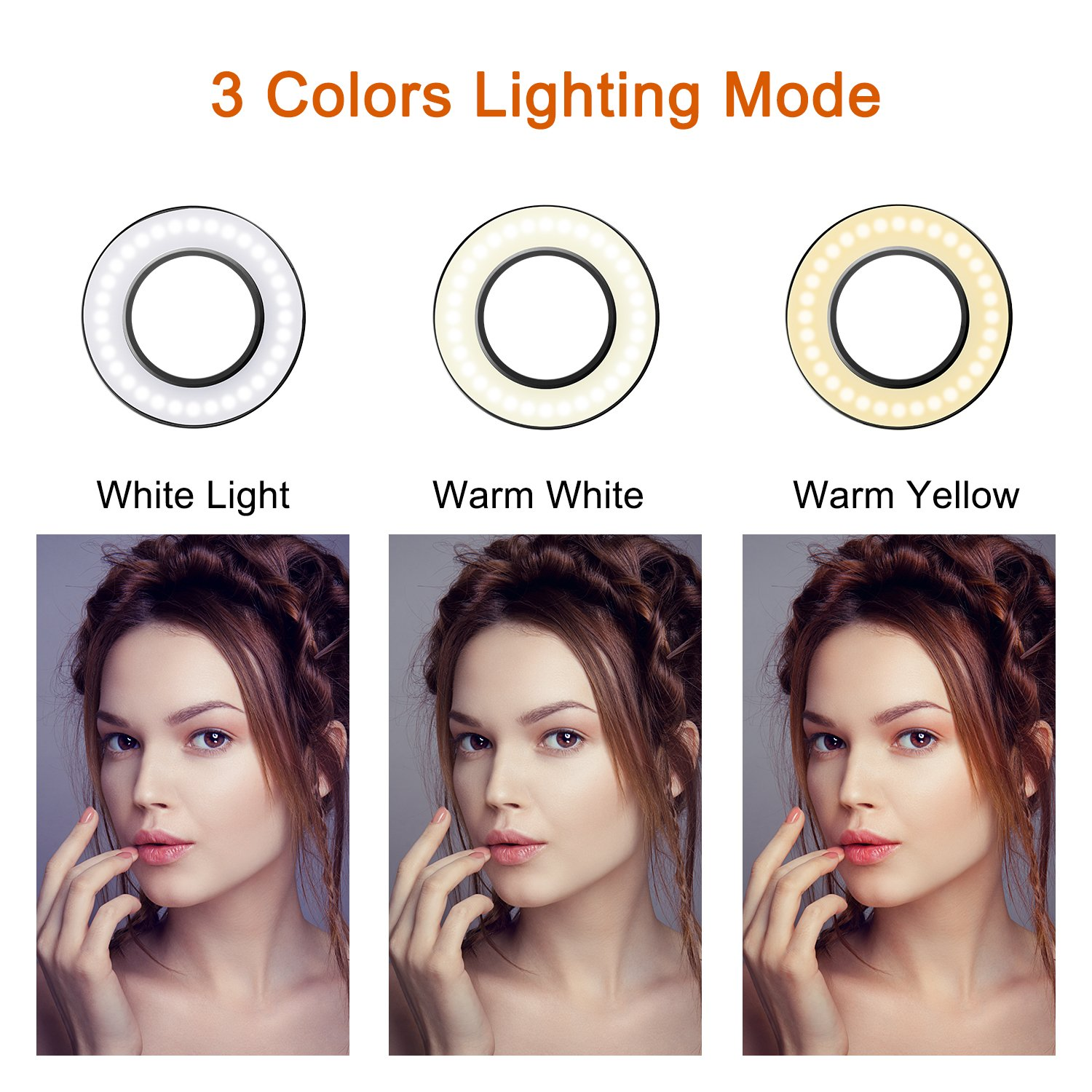 Selfie Ring Light with Cell Phone Holder Stand for Live Stream/Makeup, UBeesize Mini LED Camera Lighting with Flexible Arms Compatible with iPhone/Android by UBeesize (Image #2)