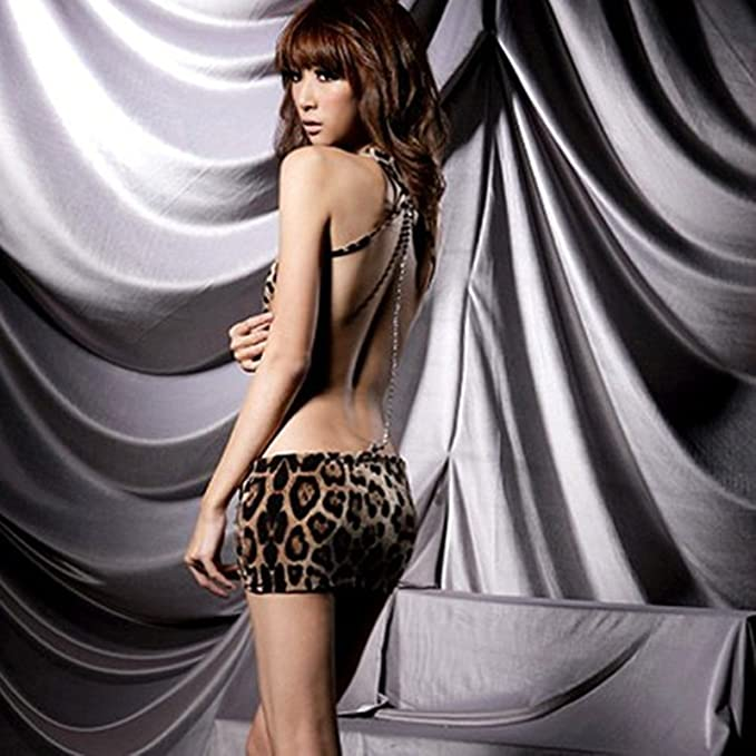 Amazon.com  SGirl Woman Sexy Animal Leopard Print Mini Dress Halter  Lingerie Sexy Dress  Clothing 16c81859a