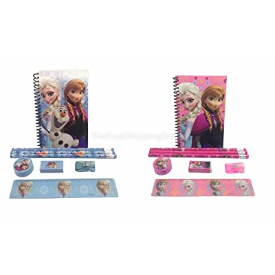 Disney Frozen Princess Anna Elsa & Olaf Stationary Set for Kids (Two Sets) Pink and Blue: Toys & Games