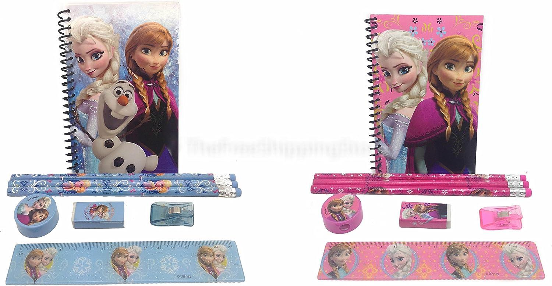 Ruler Notebook Girls Stationary Set Eraser Disney Frozen Pencils 2 Sets