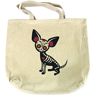 durable service Yujean Evilkid Chihuahua Muerta Sugar Skull Skeleton Dog Cotton Tote Bag