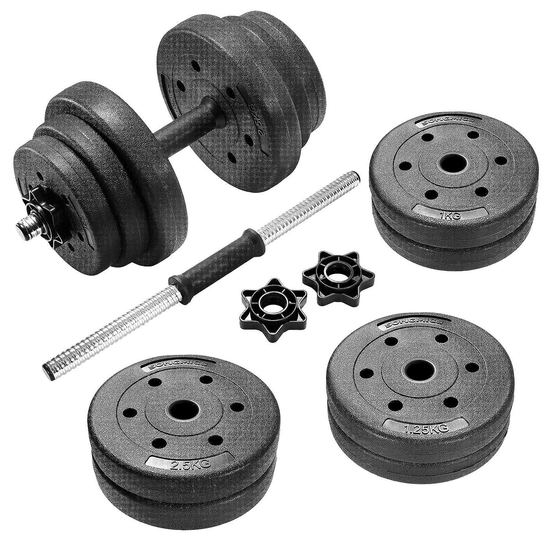 SONGMICS 20 kg Juego de Pesas Mancuernas de Fitness Ideal para Hombres Negro SYL20HV1: Amazon.es: Deportes y aire libre