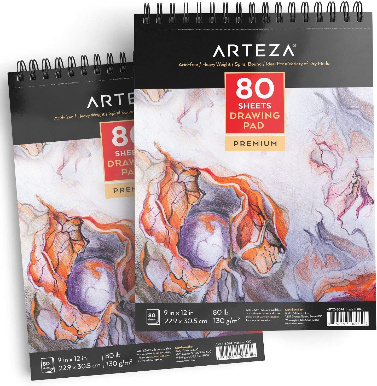 ARTEZA 9X12 Drawing Pad, Pack of 2, 160 Sheets