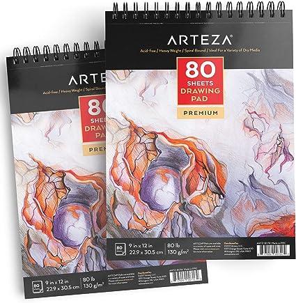 ARTEZA Cuadernos de Dibujo | Pack de 2 blocs de 80 Hojas Cada uno | Papel Grueso de 130g | para Dibujo artístico con Medios Secos: Amazon.es: Hogar