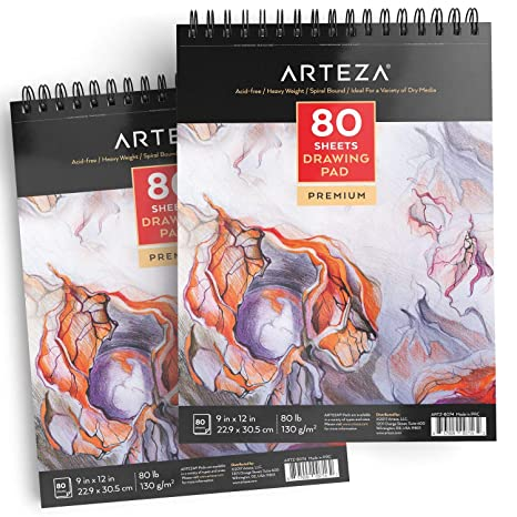 Arteza 9x12 Drawing Pad Pack Of 2 160 Sheets 80lb 130g Spiral Bound Artist Drawing Books 80 Sheets Each Durable Acid Free Drawing Paper Ideal
