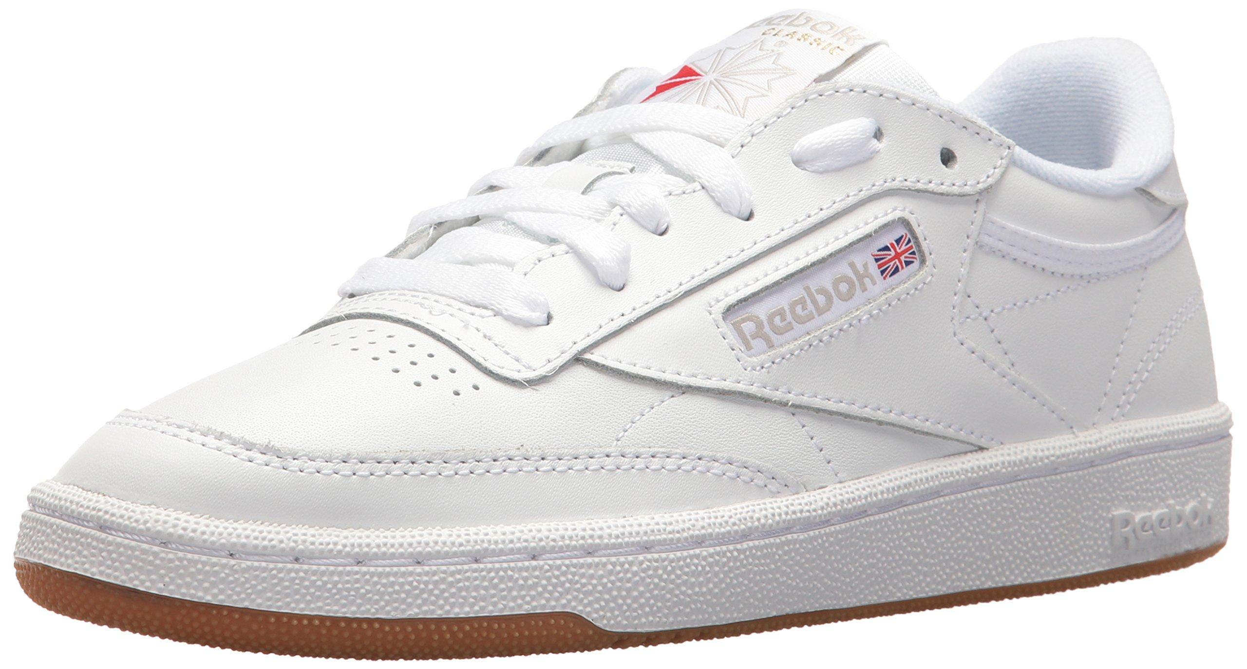 Reebok Women's Club C 85 Running Shoe, White/Light Grey/Gum, 7.5 M US