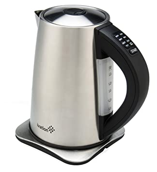 Ivation 1.7 Liter(7-Cup) Precision-Temp Stainless Steel Cordless Electric Tea Kettle; 6 Preset Heat Settings; Auto Keep-Warm for 2-Hours; Safety Shutoff Boil-Dry Protection, 1500w SuperFast Heatup