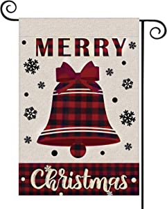 Ivenf Christmas Bell Buffalo Garland Garden 18 x 12.5 Flag Double Sided Outdoor Yard Decorations, Burlap Winter Banners Supplies