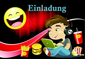 Smiley Emoji Einladungskarten Für Kinder Geburtstag 12 Stück Im Set  Geburtstags Party Für Jungen