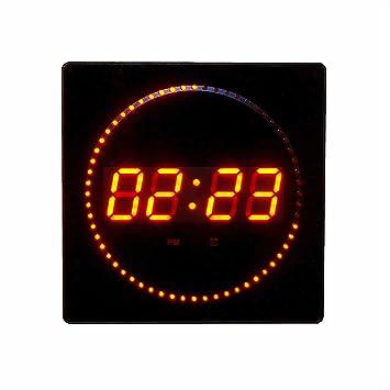 Grandes LED reloj reloj de pared redondo rojo Horas minutos segundos Fecha Temperatura pantalla digital Bar
