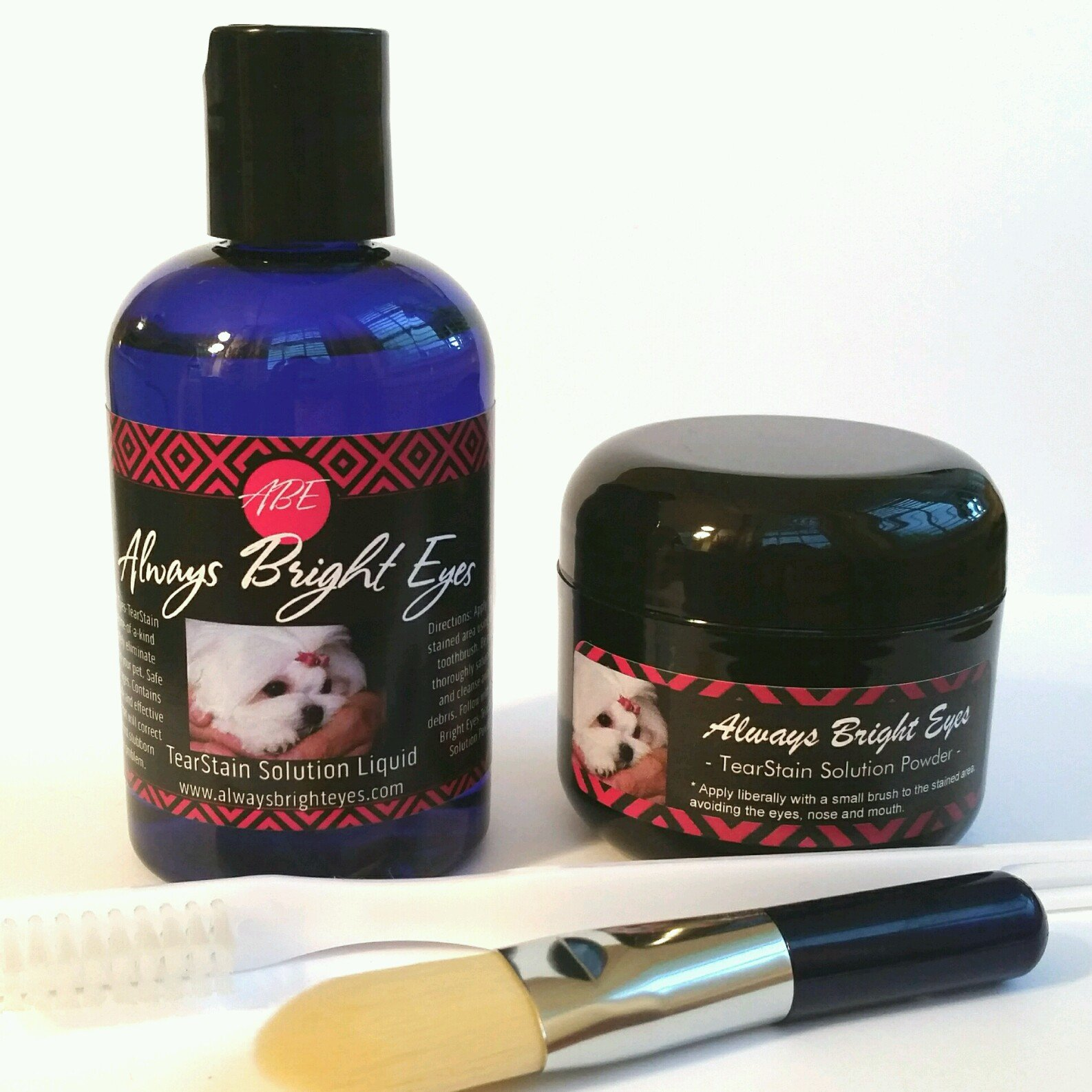 Always Bright Eyes -Tear Stain Remover for Dogs And Cats- Complete Set Includes 2 oz. Powder, 4 oz.Liquid And Application Brushes -All Natural- For Maltese, Shitzu, Yorkies, and Light Coated Breeds. by Always Bright Eyes